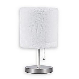 Equip Your Space 1-Light Accent Lamp with Faux Fur Shade in Brushed Nickel