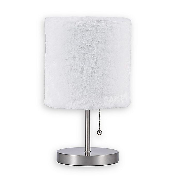 Alternate image 1 for Equip Your Space 1-Light Accent Lamp with Faux Fur Shade in Brushed Nickel
