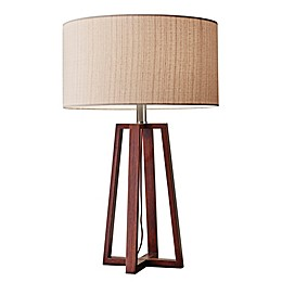 Adesso® Quinn Table Lamp in Walnut with Fabric Shade