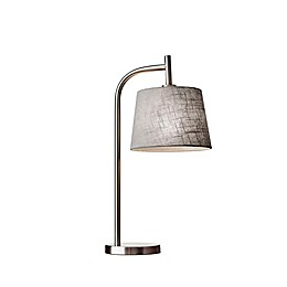 Adesso® Blake Table Lamp in Brushed Steel with Grey Fabric Shade