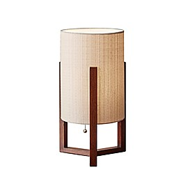 Adesso® Quinn Table Lantern in Walnut with Fabric Shade