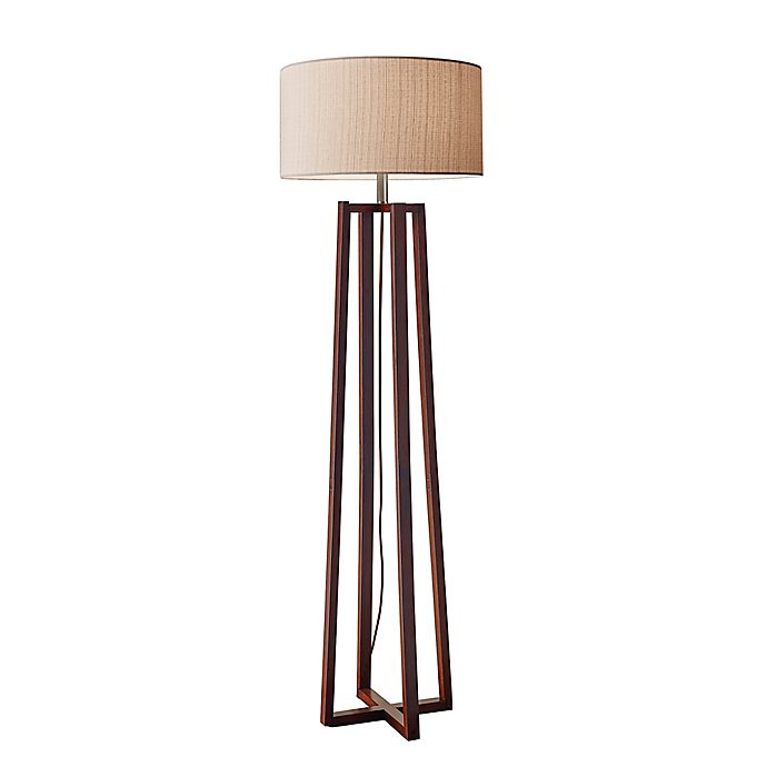 Alternate image 1 for Adesso® Quinn Floor Lamp in Walnut with Fabric Shade