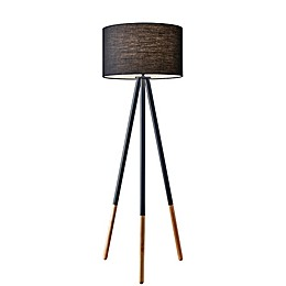 Adesso® Louise Floor Lamp in Black with Fabric Shade
