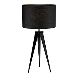 Adesso® Director Table Lamp in Black with Fabric Shade