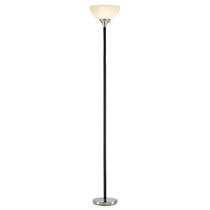 Alternate image 1 for Adesso® Gander Floor Lamp in Black with White Plastic Shade