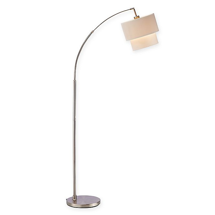 Alternate image 1 for Adesso® Gala Arc Floor Lamp in Brushed Steel with Fabric Shade