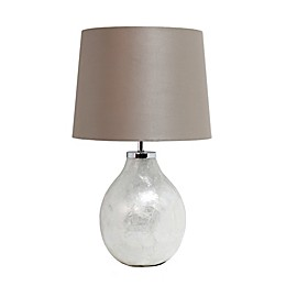 Simple Designs Pearl Table Lamp with Dark Champagne Fabric Shade