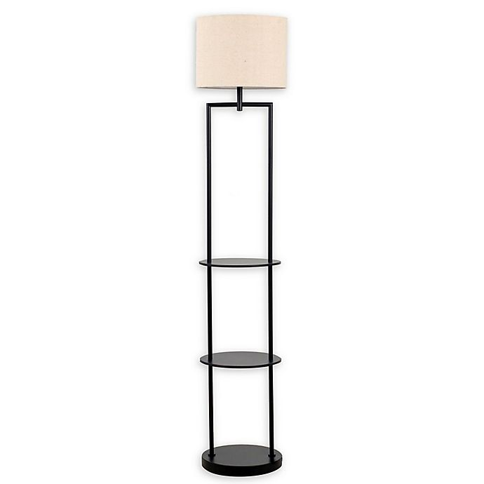 Alternate image 1 for Catalina Lighting Ronita Etagere Floor Lamp in Matte Black with Beige Linen Shade