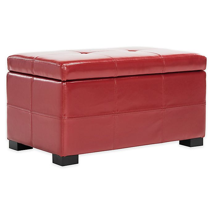 Buy Safavieh Hudson Leather Maiden Tufted Small Storage Ottoman In Red From Bed Bath & Beyond