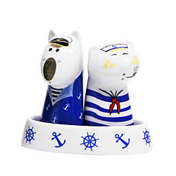 Multiple Choice Dog and Cat Sailors 3-Piece Salt & Pepper Tray Set
