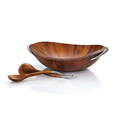 Nambe Braid Salad Bowl with 2 Servers