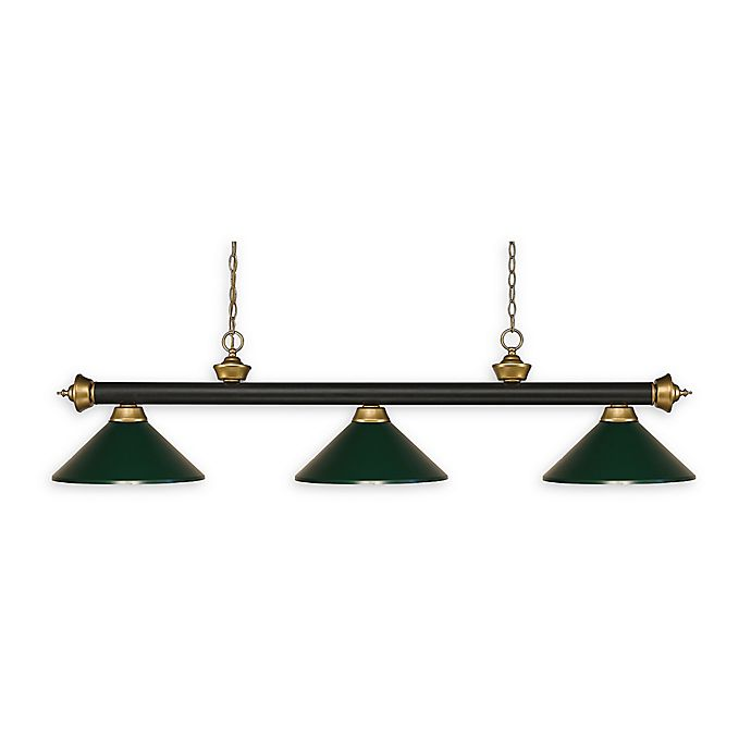 Alternate image 1 for Filament Design Reese 3-Light Pendant in Bronze/Satin Gold with Dark Green Metal Shades
