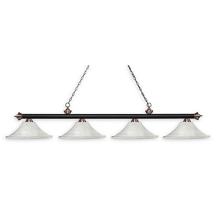 Alternate image 1 for Filament Design Reese 4-Light Pendant Matte Black/Antique Copper w/White Mottle Glass Shades