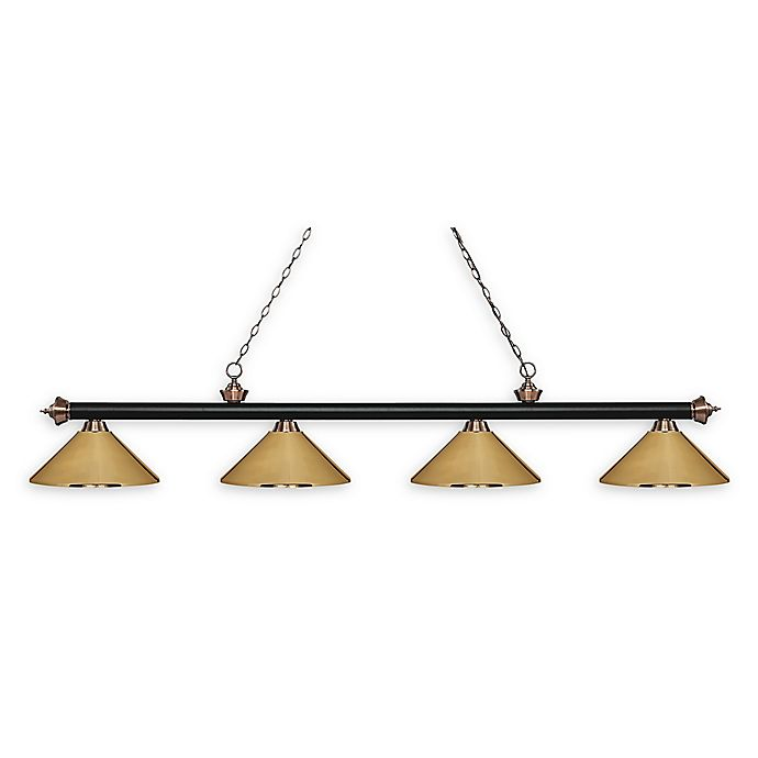 Alternate image 1 for Filament Design Reese 4-Light Pendant Matte Black/Antique Copper w/Polished Brass Shades