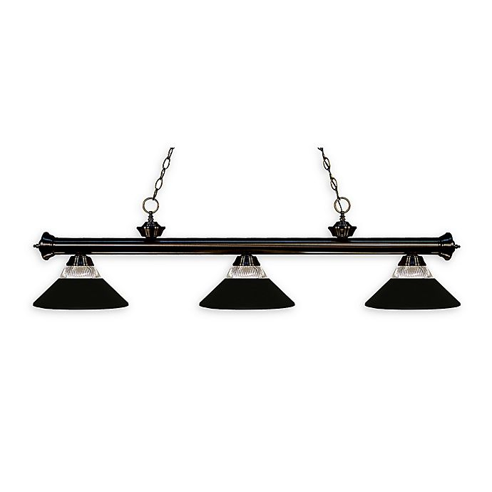 Alternate image 1 for Filament Design Reese 3-Light Pendant in Bronze w/Matte Black Metal/Clear Ribbed Glass Shades
