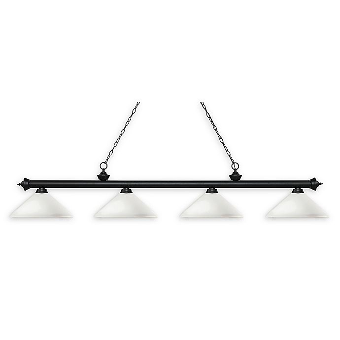 Alternate image 1 for Filament Design Reese 4-Light Pendant in Matte Black with Round Mottle Opal Glass Shades