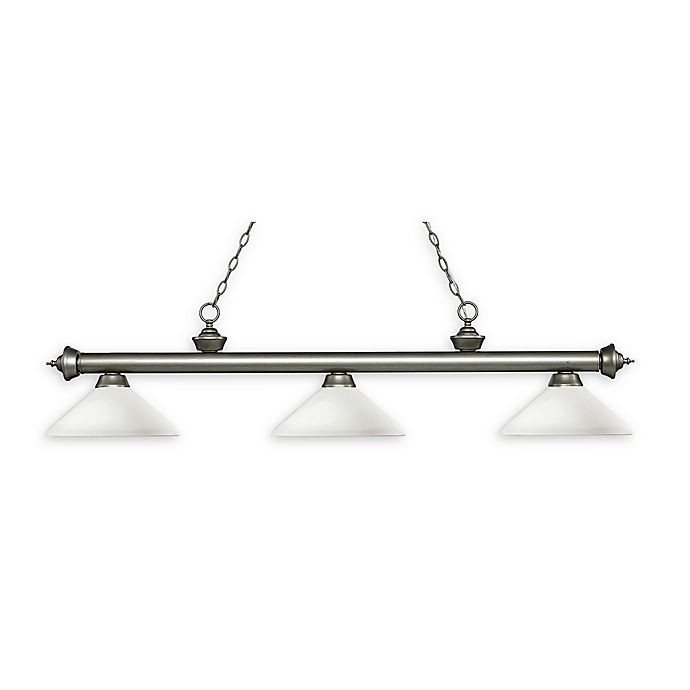 Alternate image 1 for Filament Design Reese Traditional 3-Light Pendant in Antique Silver with Matte Opal Shades