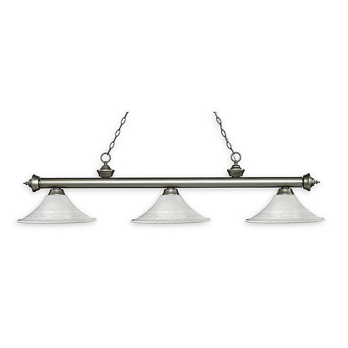Alternate image 1 for Filament Design Reese 3-Light Pendant in Antique Silver with Fluted White Mottle Shades