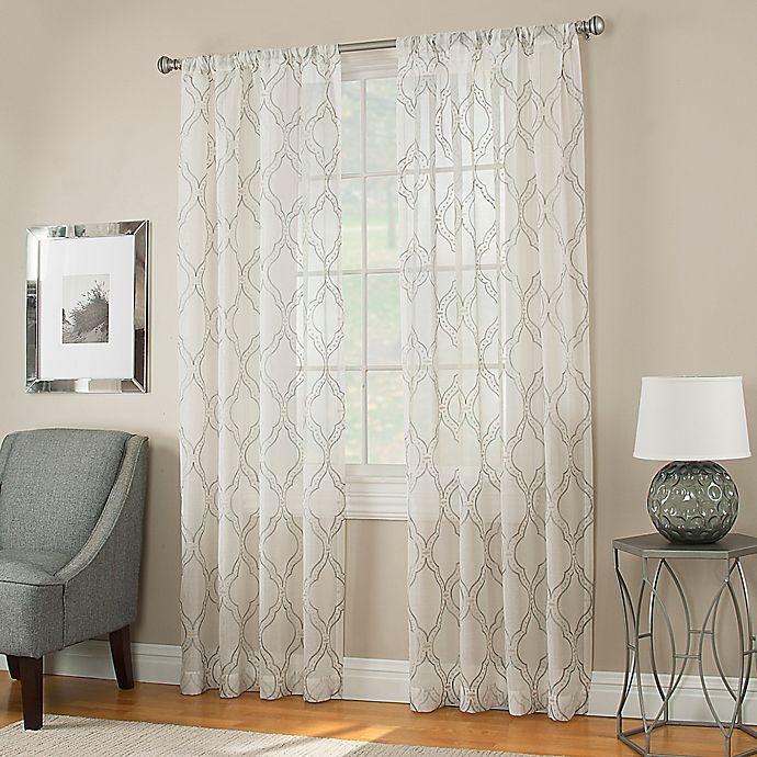 Alternate image 1 for Modern Ogee Sheer Window Panel in Grey