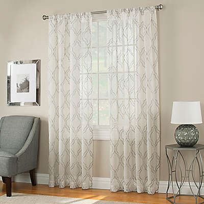 Modern Ogee Sheer Window Panel in Grey
