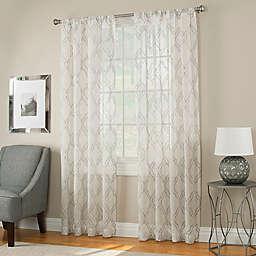 Modern Ogee Sheer Window Panel in Grey