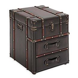 Uma Rectangular Leather and Wood Trunk Side Table