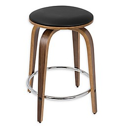 LumiSource Porto Counter Stool in Walnut/Brown/Chrome (Set of 2)