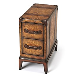 Butler Columbus Old World Map Chairside Table in Light Brown