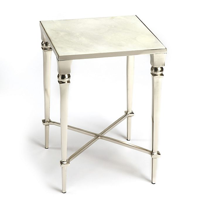 Fantastic Butler Darrieux Square Marble End Table In Silver Bed Bath Bralicious Painted Fabric Chair Ideas Braliciousco