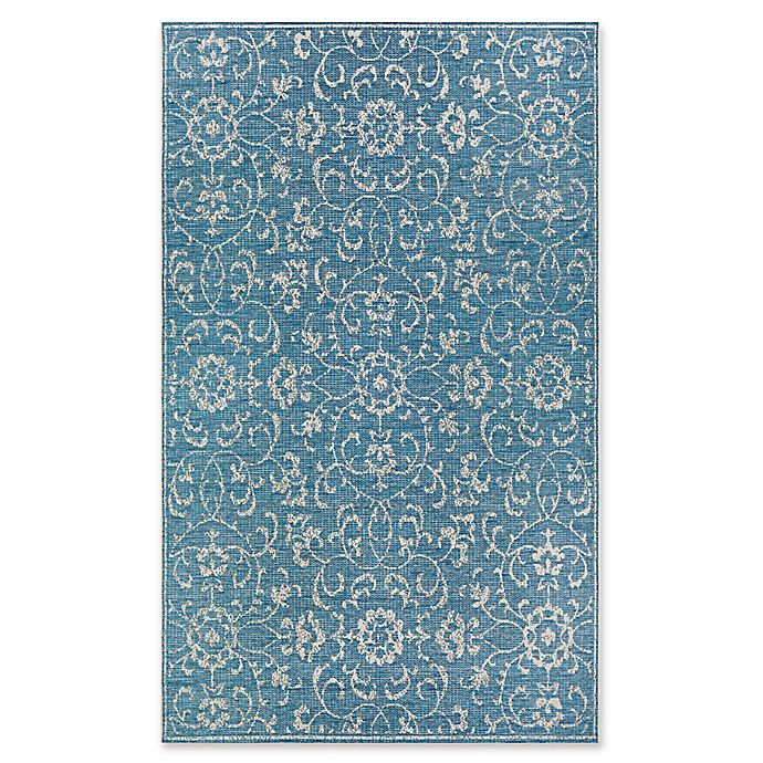 Alternate image 1 for Couristan® Monte Carlo Summer Vines 2' x 3'7 Indoor/Outdoor Rug Ocean/Ivory