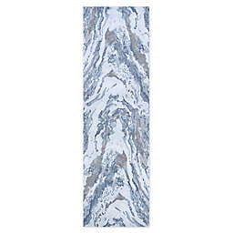 Couristan Abstract Marble 2'2 x 7'10 Runner in Grey