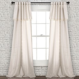 Ivy Tassel 84-Inch Rod Pocket/Back Tab Window Curtain Panel Pair in Neutral