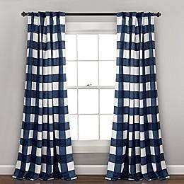 Kelley Checker 2-Pack Back Tab 84-Inch Window Curtain Panels