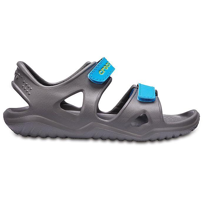 Alternate image 1 for Crocs™ Swiftwater River Kids' Sandal in Grey/Blue