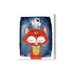 Oliver Gal Fox & Moon 20-Inch x 17-Inch Canvas Wall Art