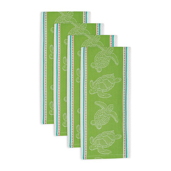 Design Imports Sea Turtle Jacquard Kitchen Towels in Green ...