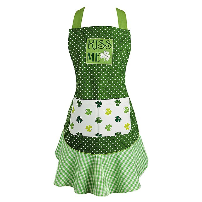 Alternate image 1 for Design Imports Kiss Me Ruffle Apron in Green