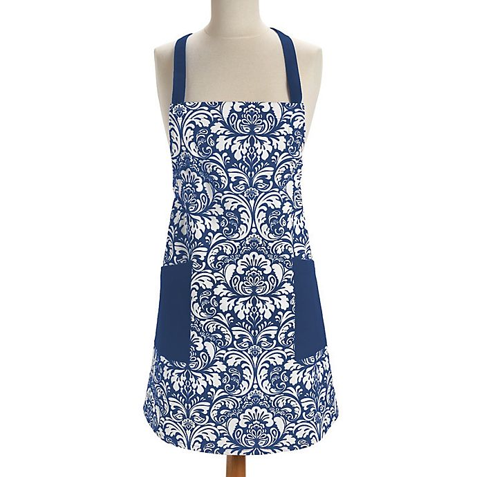 Alternate image 1 for Design Imports Damask Apron in Blue