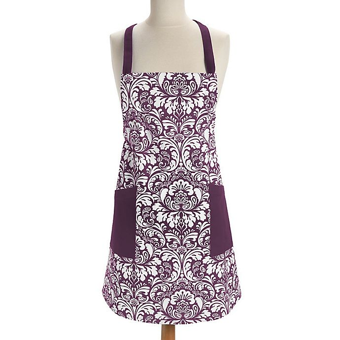 Alternate image 1 for Design Imports Damask Apron in Eggplant
