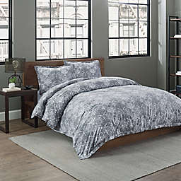 Garment Washed Printed 2-Piece Twin/TwinXL Duvet Cover Set in Grey Medallion