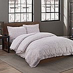 Garment Washed Printed Full/Queen Duvet Cover Set in Taupe Dot
