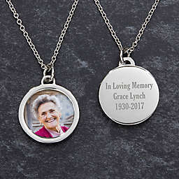 Memorial Round Photo 20-Inch Chain Pendant Necklace