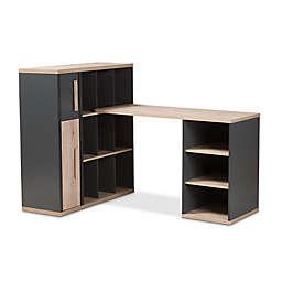 Baxton Studio Pandora Two-Tone Study Desk with Shelving Unit in Dark Grey