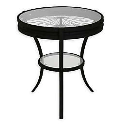 Monarch Specialties 22-Inch Round Metal and Glass Accent Table in Black