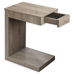 Monarch Specialties Accent Table with Drawer in Dark Taupe