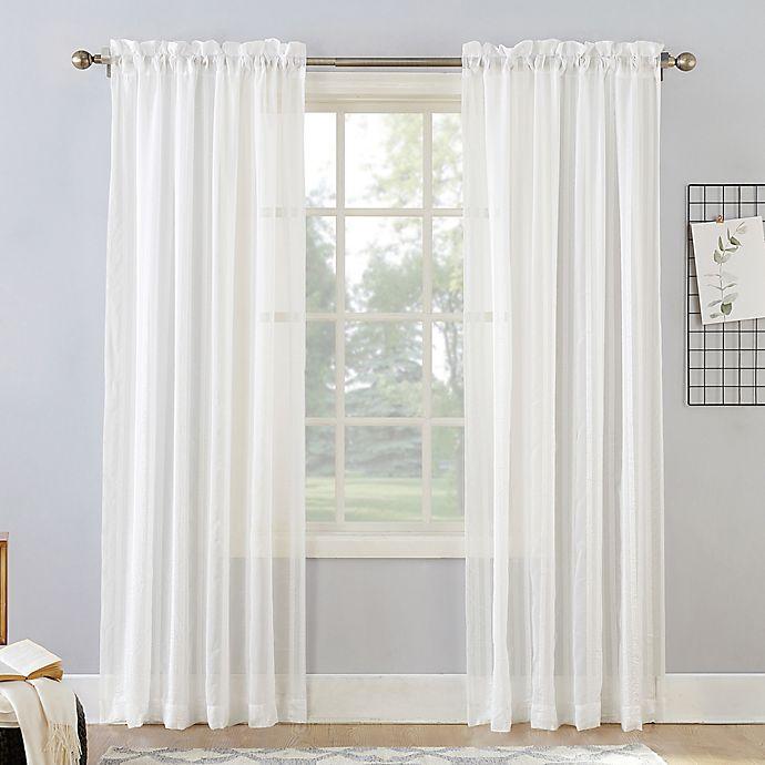 Alternate image 1 for Natural Stripe 84-Inch Rod Pocket Sheer Window Curtain Panel in Linen