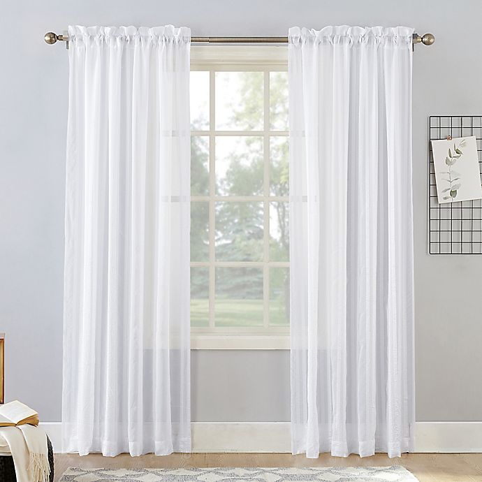 Alternate image 1 for Natural Stripe 63-Inch Rod Pocket Sheer Window Curtain Panel in White