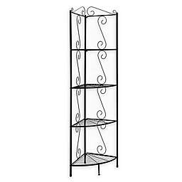 Monarch Specialties 70-Inch Corner Metal Étagère Bookcase