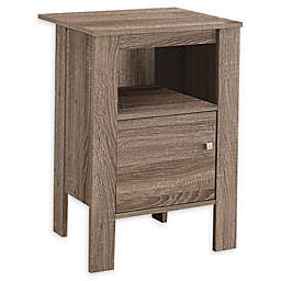 Monarch Specialties Accent Table/Nightstand with Storage in Taupe