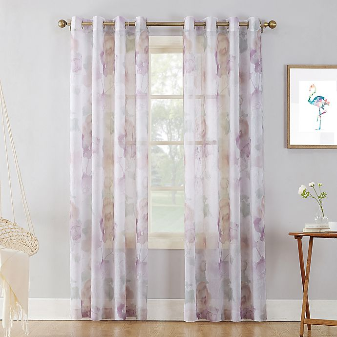 Alternate image 1 for No.918 Andorra Crushed Sheer 63-Inch Grommet Top Window Curtain Panel in White